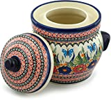 Polish Pottery Fermenting Crock Pot with Water Seal (14 Cups) Spring Splendor UNIKAT