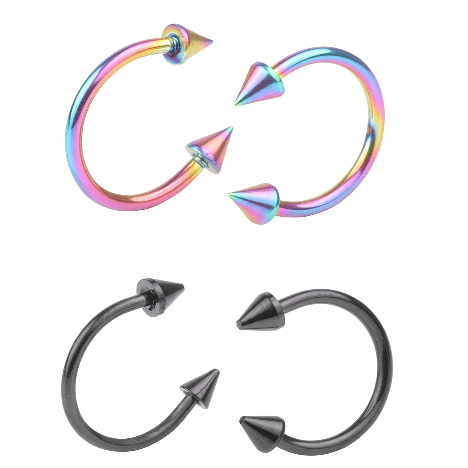 DRW 4-8pcs 16G Stainless Steel Multi-functional LipNoseNippleEyebrown Captive Hoop Ring Barbell Tragus Cartilage Stud Earrings 3mm Spike 10mm