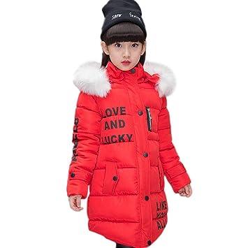 9ad7338cf4e3 AKAUFENG Manteau de fille long avec capuche de fourrure - Veste d hiver  fille avec