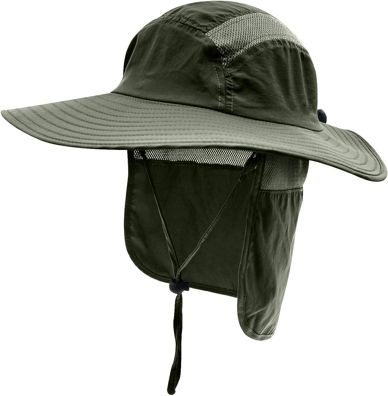 Camouflage Fischerhut Bucket Hut Sonnenhut Sonnenschutz mit Halstuch Gro/ße Krempe Anti UV Anti Stechm/ücke Dunkelblau