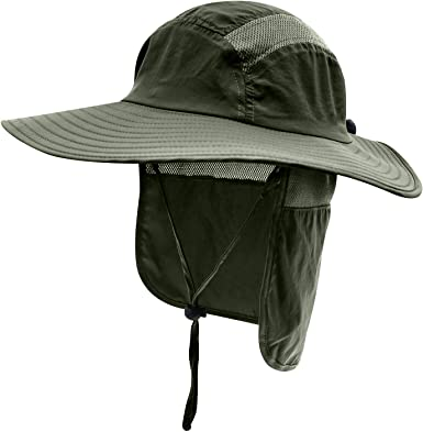 Mens Outdoor Sun Protection Wide Brim Bucket Sun hat with Neck Face Flap