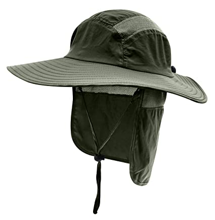 Home Prefer Mens UPF 50+ Sun Protection Cap Wide Brim Fishing Hat with Neck  Flap 76c5d7720b6