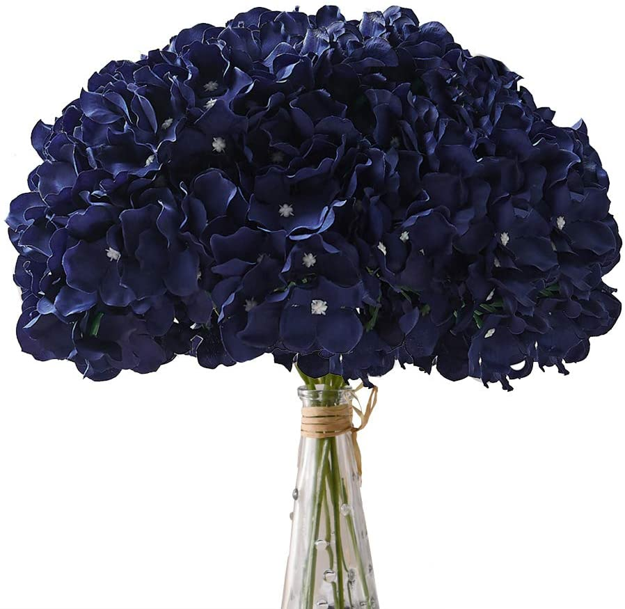 Aviviho Hydrangea Silk Flowers Navy Blue Heads Pack of 10 Full Hydrangea Flowers Artificial with Stems for Wedding Home Party Shop Baby Shower Décor