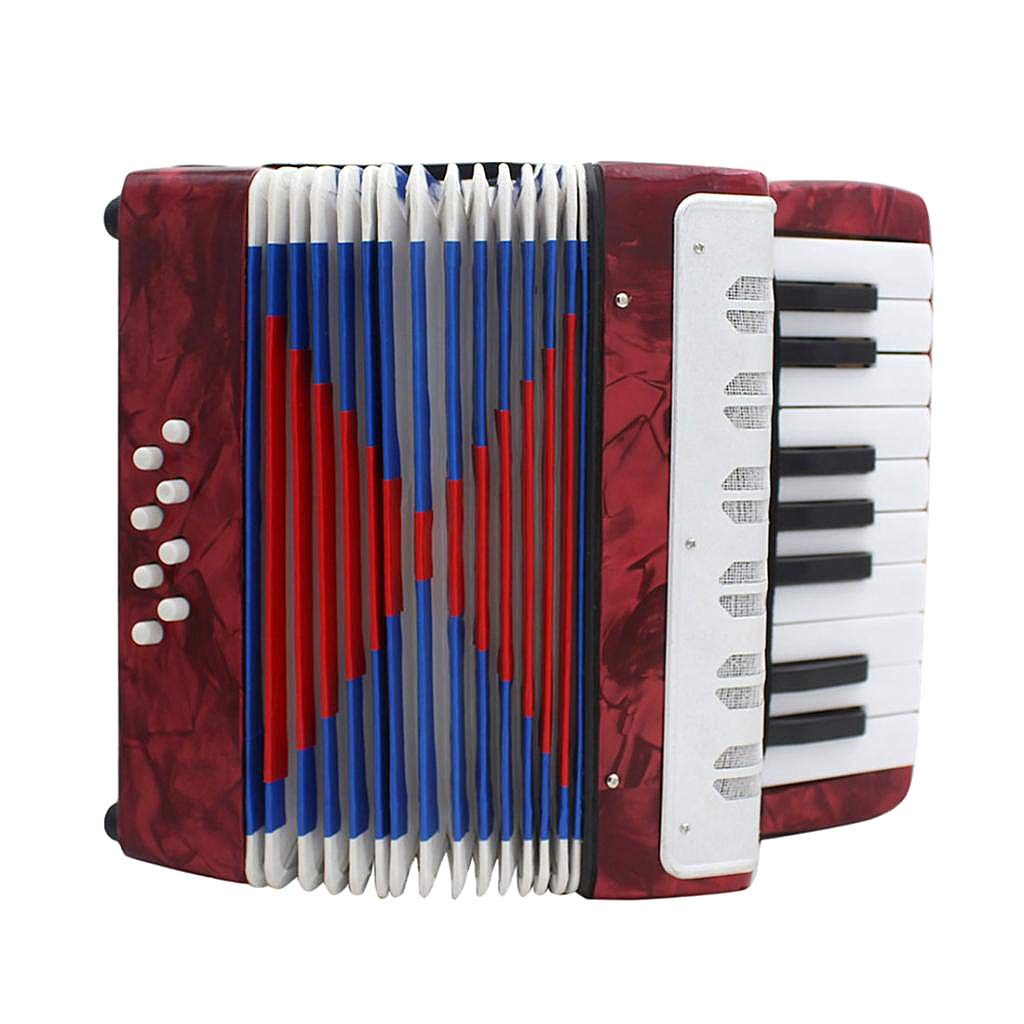 MagiDeal IRIN 17 Key 8 Bass Piano Accordion Musical Instrument for Performance - Red