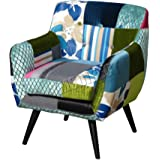 FoxHunter Patchwork Chair Fabric Vintage Tub Armchair Seat Dining Room Living Bedroom Office Furniture PC029
