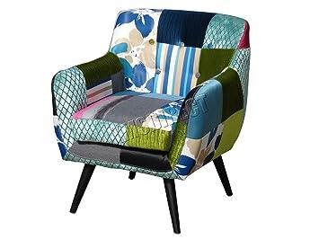 WestWood Designer Patchwork Chair | Vintage Fabric Seat | LivingRoom  Bedroom Armchair Furniture | Modern Retro