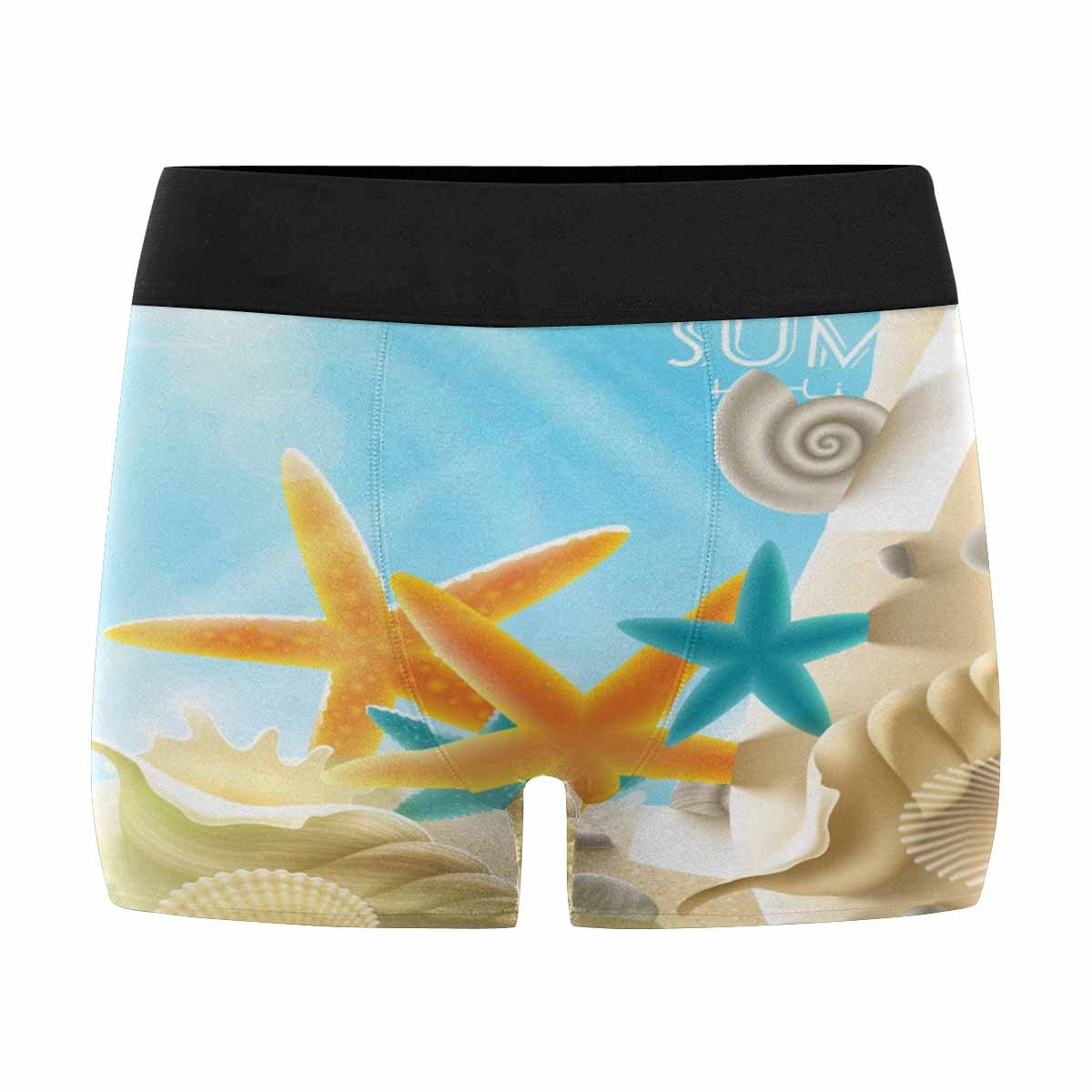INTERESTPRINT Mens Boxer Briefs Underwear Summer Holidays Sea Inhabitants on a Beach Sand Against a Sunny Seascape XS-3XL