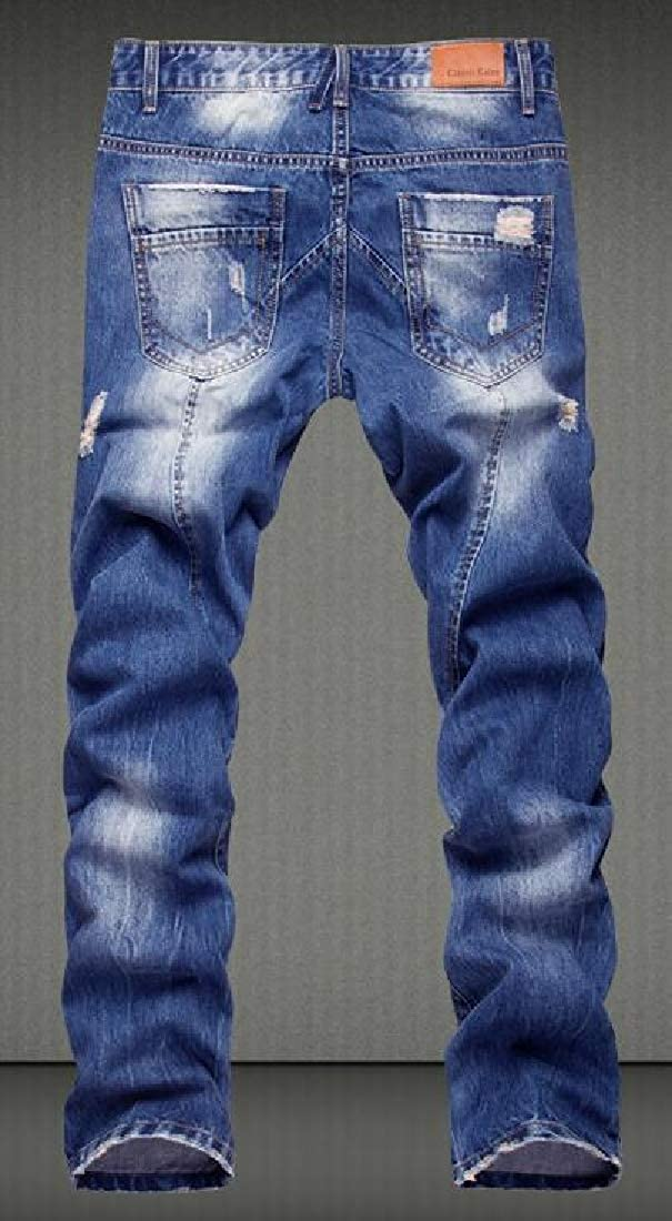 MK988 Men Washed Straight Leg Regular Fit Ripped Distressed Jeans Denim Pants