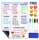 Magnetic Dry Erase Board For Fridge - Weekly Calendar Whiteboard. BONUS 6 Emoji Magnets + 4 Color Markers + Eraser By FamilyGroup. Dry Erase Calendar 2018 For Kitchen Refrigerator 16''x12'' White