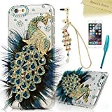 iPhone 6 Plus Case,iPhone 6S Plus Case (5.5'),Mavis's Diary 3D Handmade Bling Crystal Luxury Feather Peacock Shiny Blue Gems Glitter Diamond Clear Hard PC Cover with Dust Plug,Stylus,Screen Protector