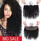 URALL Hair Brazilian Kinky Curly 13''x4'' Ear to Ear Lace Frontal Closure Unprocessed Virgin Human Hair Frontal with Baby Hair Natural Color (18inch)