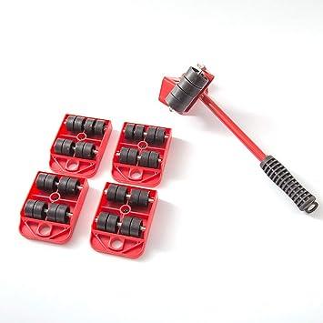WEIWEITOE Levantador de Muebles Deslizadores fáciles de Mover 5 Paquetes Juego de Herramientas de mudanza Sistema de elevación y Levantamiento de Muebles Pesados, Rojo,: Amazon.es: Juguetes y juegos