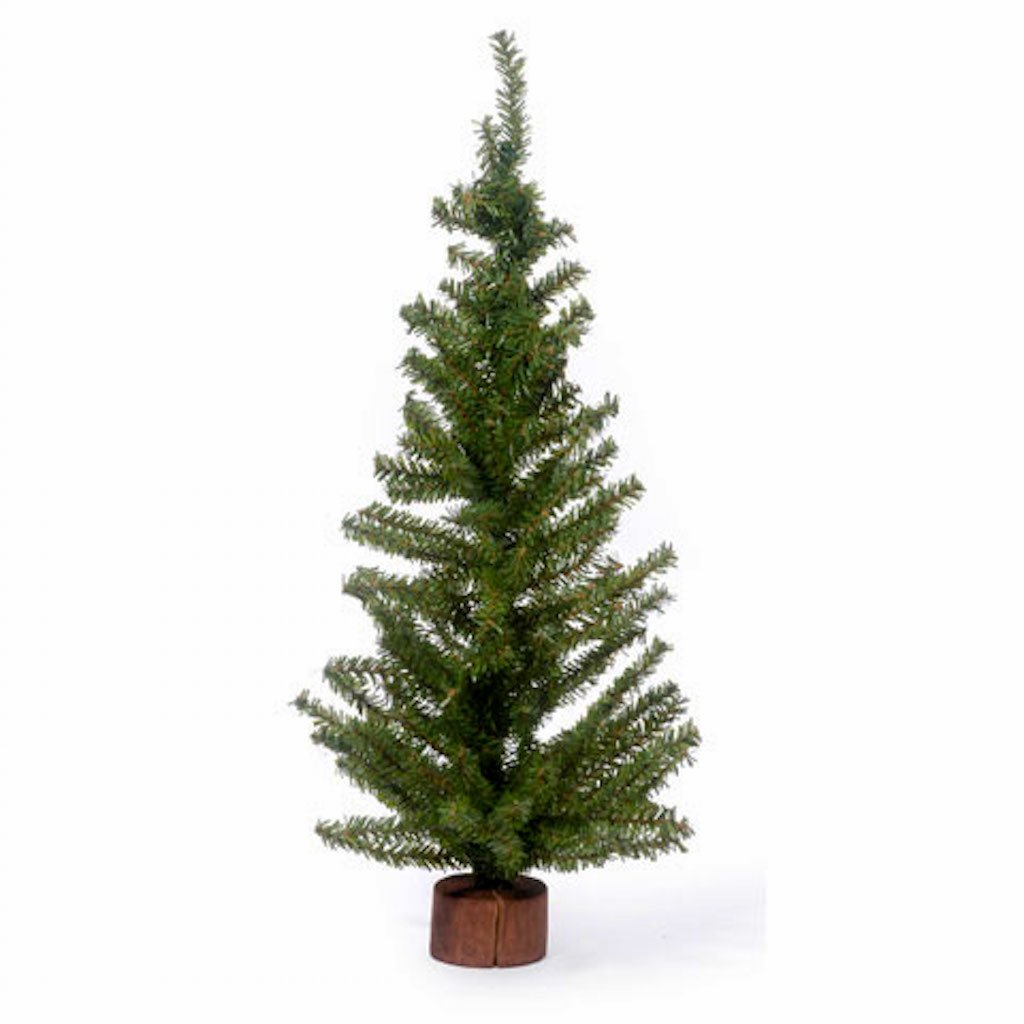 36 Christmas Office Canadian Pine Miniature Tree Wood Base Trees 8''