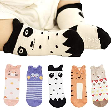 6 PCS Baby Girls Cute Cartoon Socks with Strap Non Slip Grip for Toddler Walking