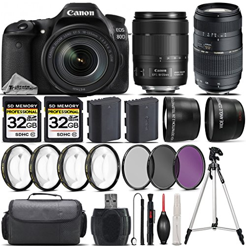 Canon EOS 80D DSLR Camera + Canon 18-135mm IS USM Lens + Tamron 70-300mm Di LD Macro Lens + 0.43X Wide Angle Lens + 2.2x Telephoto Lens + 64GB Storage + 4PC Macro Kit - International Version by CANON