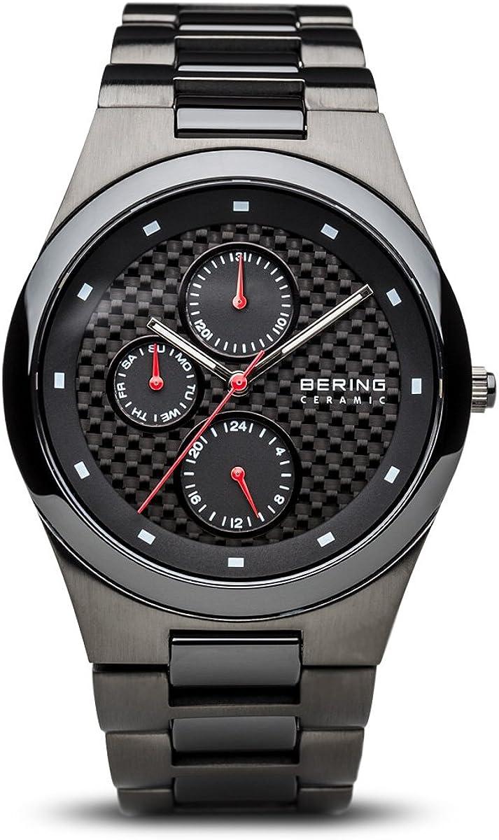 Bering Ceramic - Reloj analógico de caballero de cuarzo con correa de varios materiales negra - sumergible a 50 metros