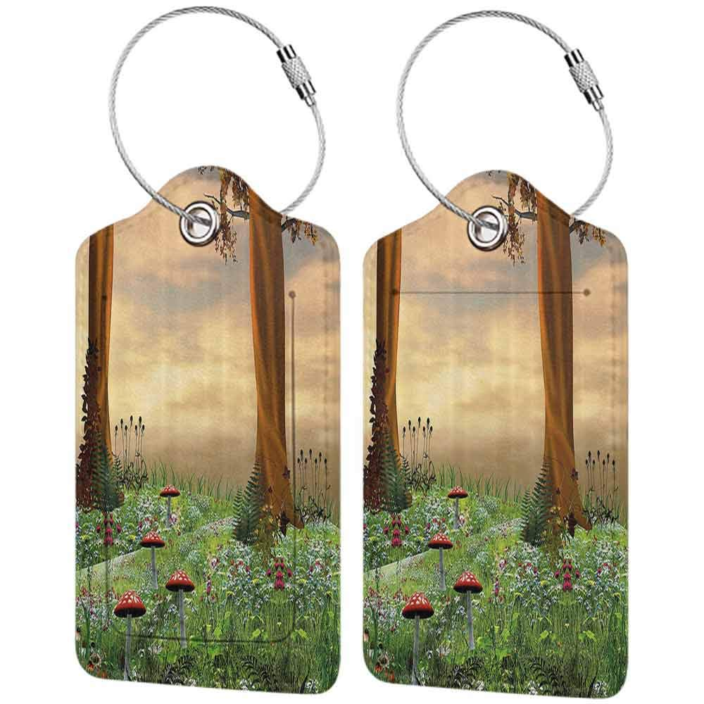 Flexible luggage tag Nature Enchanted Woods Summer Season Mushrooms Flowers Trees Wildgrass at Sunset Cartoon Fashion match Multicolor W2.7 x L4.6