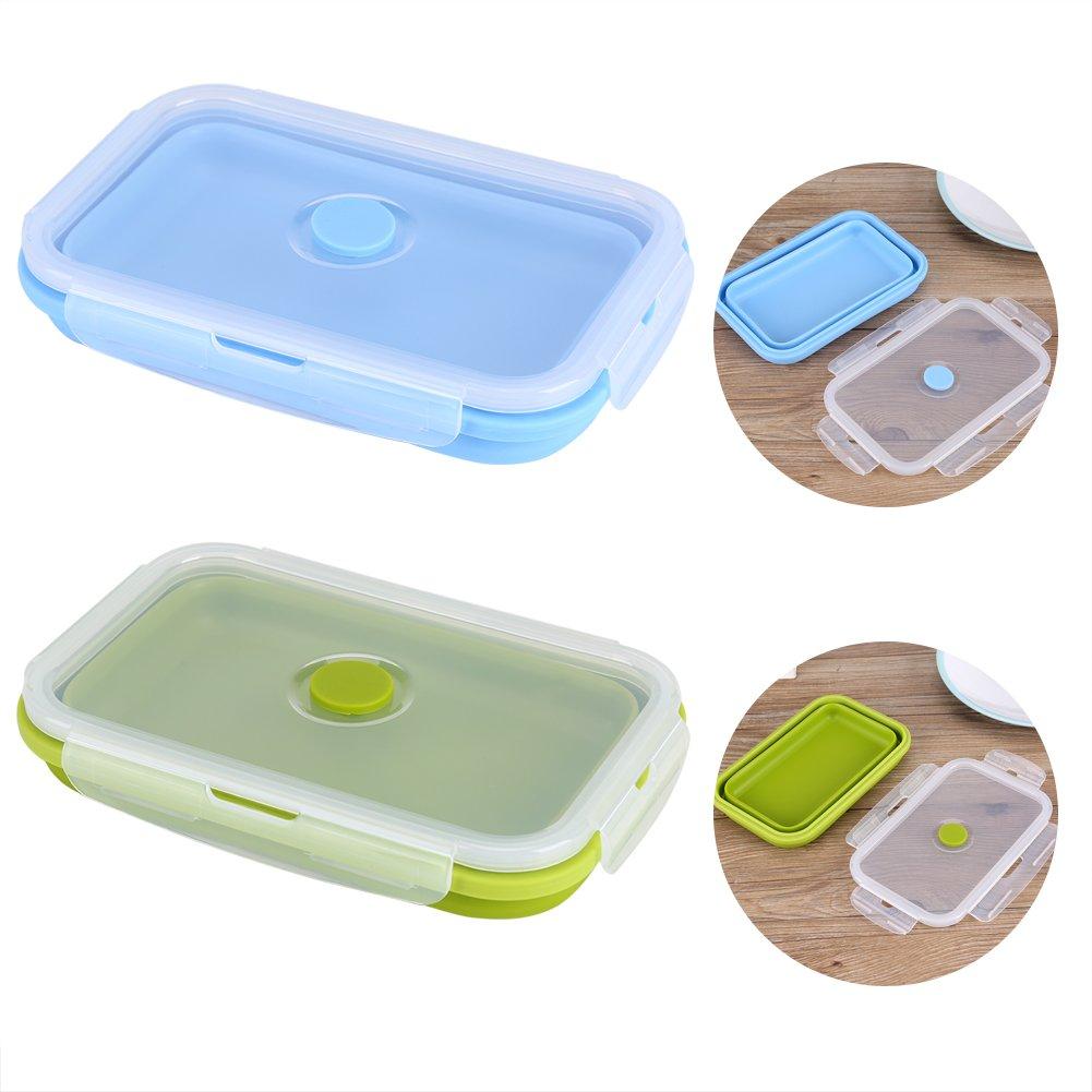 800 ml Bentobox Brotdose Lebensmittelbeh/älter Lebensmittelqualit/ät Silikon Faltbare Tragbare Faltsch/üssel Faltung Sicher und Gesunde Lebensmittel Vorratsbeh/älter Gr/ün