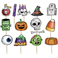 Topfunyy 14pcs Happy Halloween Cupcake Topper Pumpkin Ghosts Zombie Cake Topper for Halloween Party Favor Decorations Supplies