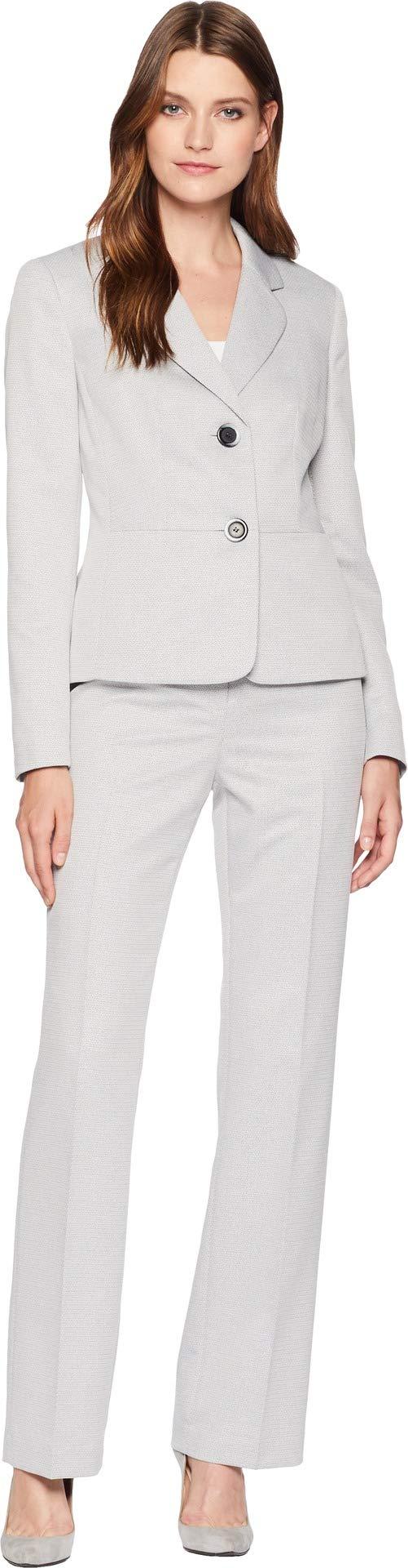 Le Suit Women's Textured 2 Bttn Notch Lapel Pant Suit, Grey Stone, 6