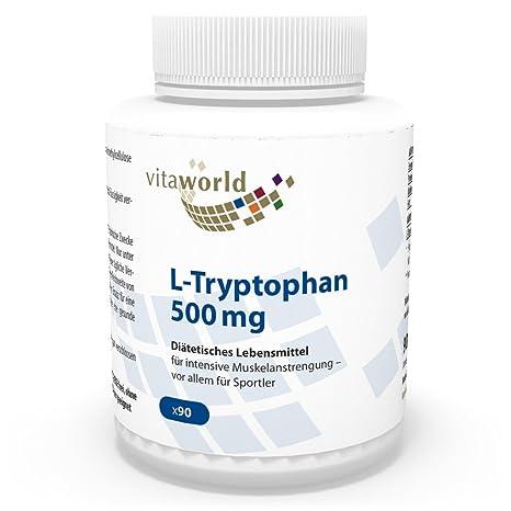 L-Triptófano 500mg 90 Cápsulas Vegetales Vita World Alemania L-Tryptophan Aminoácido Proteínas