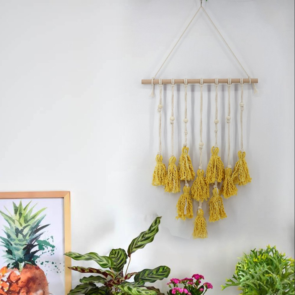 ChezMax Northern Europe Wall Hanging Tapestry Tassels Pendant Decoration Handmade with Woods Beads Bohemia Style Yellow 24.4'' X 17.7''