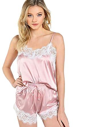 57352855ca DIDK Damen Spagehtti Träger Satin Top und Shorts Pyjama Set mit Spitzen:  Amazon.de: Bekleidung