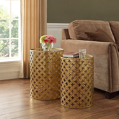 Linon Nesting Table in Gold (Set of ()