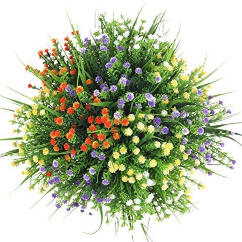 Artificial Flowers, Houda 4pcs Faux Baby's Breath Grass Fake Plastic Shrubs Plants Arrangements Greenery Bushes Indoor Outside Home Garden Wedding Decor (white)