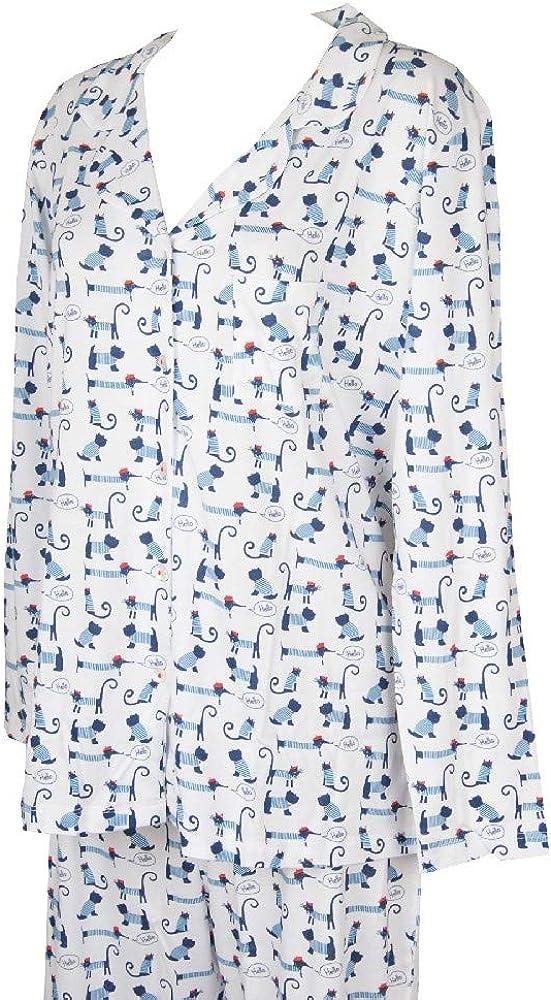 Pigiama Donna Lungo Aperto Collo a Camicia Manica Lunga Fantasia cagnolini in Jersey D240N7 Variante 010F Bianco