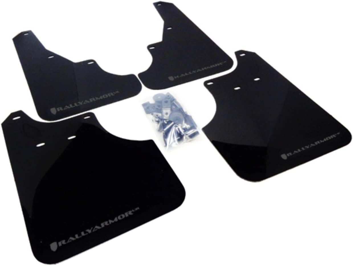 Universal Fitment no Hardware Rally Armor MF12-UR-BLK//GRY Black Gray Mud Flap with Logo UR
