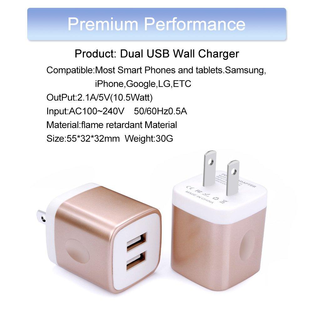 Amazon.com: Cargador de pared USB, dorado, (2Pcs Gold ...