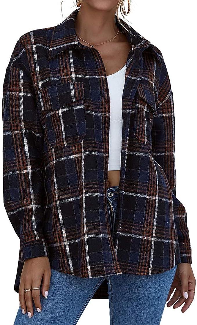 L&ieserram Chaqueta de entretiempo para mujer a cuadros con botones de gran tamaño, camiseta de manga larga con diseño de cuadros, chaqueta ligera ...