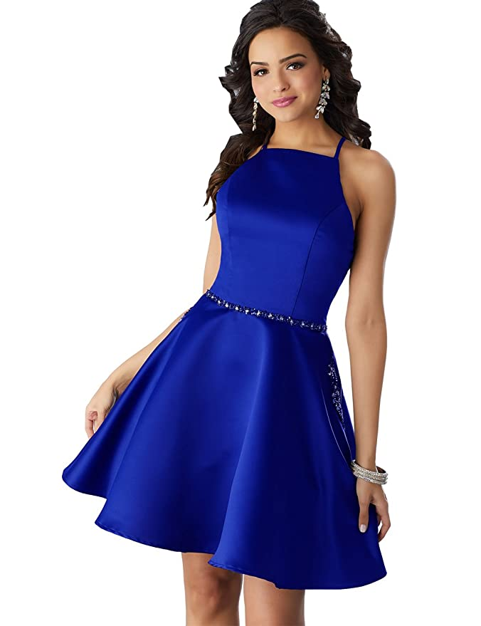 Review Women's Halter Beaded Homecoming Dress Short A-line Satin Formal Gown with Pockets