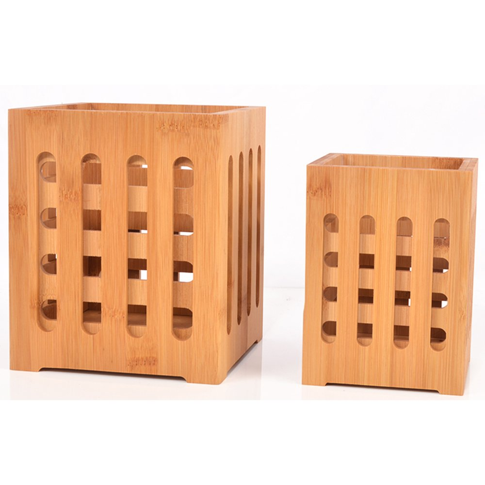 SZUAH Bamboo Utensil Holder + Flatware Holder, Large Capacity Utensil Cutlery Caddy Organizer with Drainer Holes & Lattice, 2 Pack (6.6x5.5, 5.48x4)