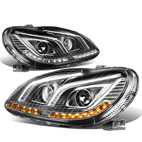 For Mercedes S350 S430 / S500 / S600 / S55 AMG Black Housing LED DRL+Turn Signal Projector Headlight Lamp