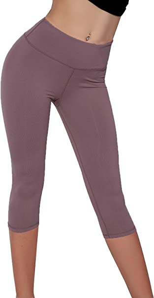Splendor flying Womens Yoga Capri Legging Inner Pocket Non See-Through Fabric Leggings