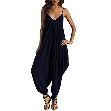 Petalum Combinaison à Bretelle Femme Pantalon Saoule Longue Extra