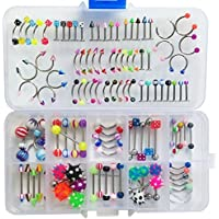 Oasis Plus Lot 110 PCS Body Jewelry Piercing Eyebrow Navel Belly Tongue Lip Bar Ring 22 Styles