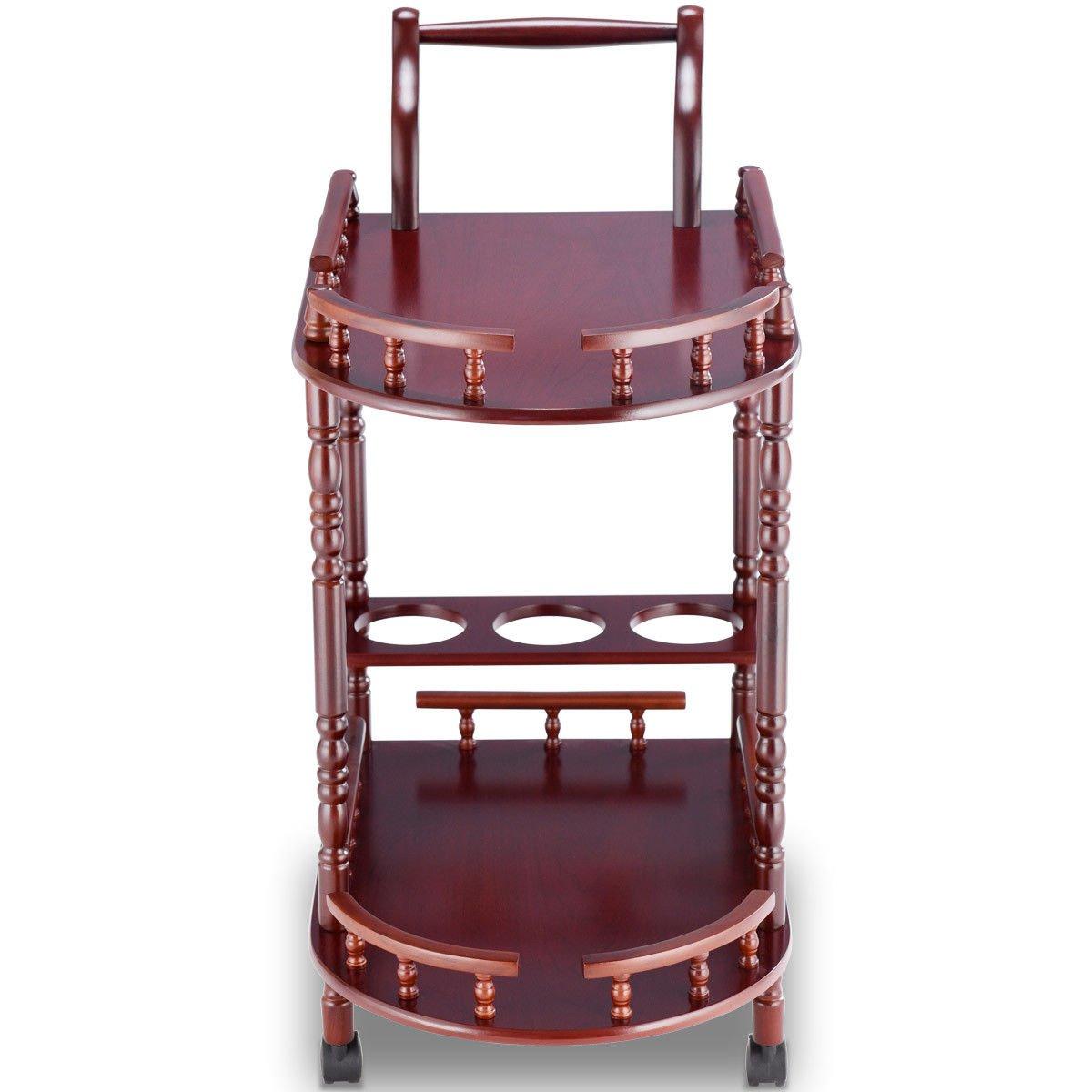Eosphor US Rolling Serving Trolley Cart Bar Cart Trolley Two-Tier Rack Rolling Wine Rack Hotel Cherry Wood by Eosphor US (Image #3)