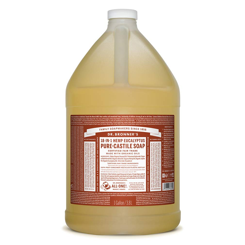 Dr. Bronner's - Pure-Castile Liquid Soap (Eucalyptus, 1 Gallon) - Made with Organic Oils, 18-in-1 Uses: Face, Body, Hair, Laundry, Pets and Dishes, Concentrated, Vegan, Non-GMO