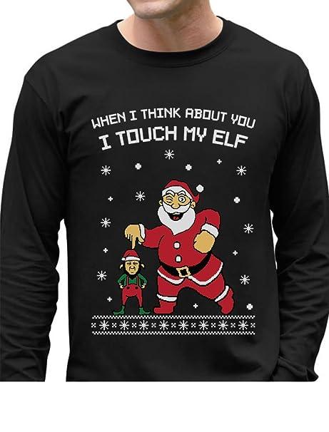 72efb9544 TeeStars - I Touch My Elf Ugly Christmas Sweater Long Sleeve T-Shirt Small  Black