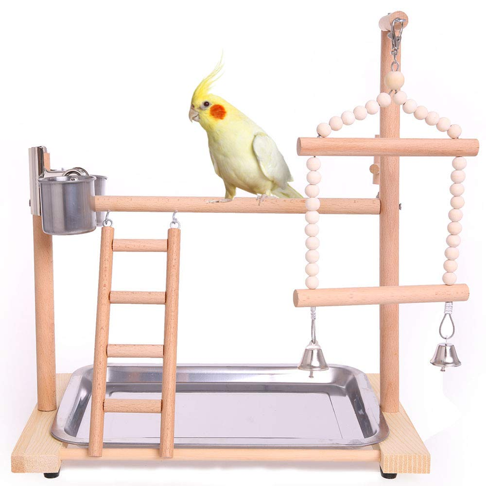 QBLEEV Bird Playground Birdcage Playstand Parrot Play Gym Parakeet Cage Decor Budgie Perch Stand with Feeder Seed Cups Ladder Hanging Swing Chew Toys Conure Macaw Cockatiel Finch Small Animals by QBLEEV