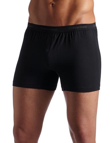 Calvin Klein Men's Slim Fit Knit Boxer, Black Large