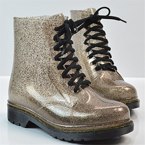 Academy Boots B HUAN Shoes Ladies Fashion Rain Water Transparent Color Size Water Glitter Boots Martin Fall 36 Spring Women's Shoes TrITZ