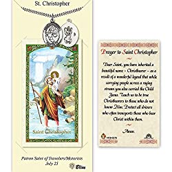Pewter St. Christopherbasketball Medal On An 24 Inch Heavy Curb Chain With A Prayer To St Cristopher Prayer Card.