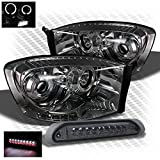 08 dodge ram smoked headlights - For 2006-2008 Dodge Ram 1500, 2006-2009 Ram 2500/3500 Smoked Halo Projector Headlights + LED 3rd Brake Light 2007