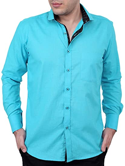 1bca7b7e710d3 Zeal 100% Cotton Dark Turquoise-Black Casual-Formal Shirt  Amazon.in   Clothing   Accessories