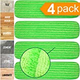 Microfiber Mop Pads 4 Pack - Reusable Washable Cloth Mop Head Replacements Best Thick Spray Wet Dust Dry Flat Velcro Attachment 18' Inch - Cleaning Refill Fits Bona, Bruce, Rubbermaid, Libman + More