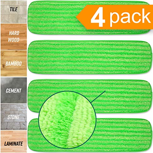 Microfiber Mop Pads Refill Pack - 4X Reusable Washable Mop Head Replacements Best Thick MF - Spray Wet Dust Dry Flat Velcro Attachment - Fits 14